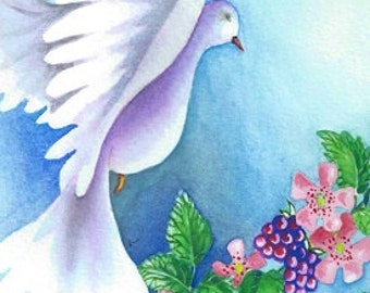 Dove ~ 10 x 8 print from original watercolour painting
