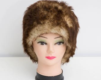 Vintage Fur Hat, Brown Pillbox Hat, Genuine Fur Hat, Warm Winter Hat, 60s Fur Hat, Beige Brown Fur Women Hat, Brown Winter Hat