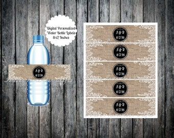 Digital  Personalized Wedding Burlap & Lace Design Water Bottle Labels 8 x 2 Inches