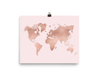 Gold world map etsy rose gold matte paper poster pink world map map of the world gift gumiabroncs Choice Image