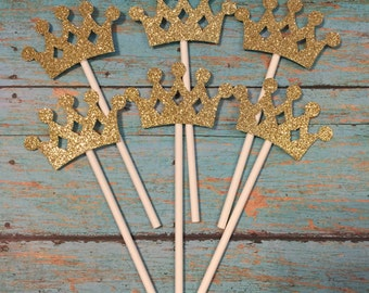 Crown Cupcake Toppers, Crown Birthday Cupcake Toppers, Princess Cupcake Toppers, Gold Crowns, Gold Birthday Cupcakes, Princess Party Cupcake