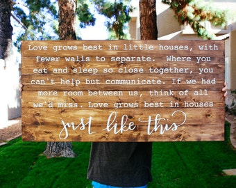 Love Grows Best In Little Houses Quote Wood Sign, Cute Home Decor, Simple  Decor