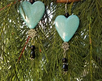 Rimous Turquoise  Heart Earrings with Australian Crystals