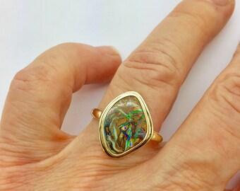 Koroit Opal Ring, Gold Opal Ring, Australian Opal Ring, 14k Opal Ring,