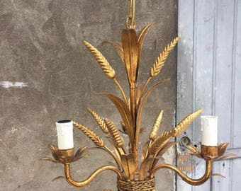 French vintage metal gold gilt maison jansen design wheat ears chandelier 70's