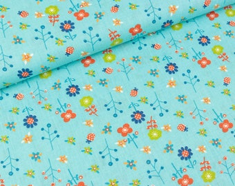 Cotton fabric Flower Meadow bright Turquoise (7.90 EUR/meter)