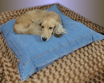 Favorite Blue Jeans - Dog Pillow - Dog Bed - Cats - Pets - Includes Embroidered Personalization