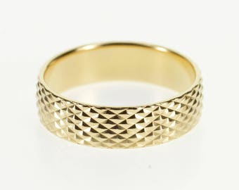 14k Studded Lattice Pattern Textured Wedding Band Ring Gold