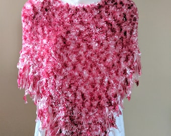 Fabulous Flamingo Pink Color Fun Fur Boa Poncho with Fringed Edge - Size Medium