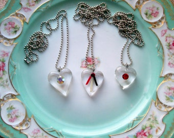 1960's Heart lucite Bubble necklaces Rhinestones 3 available