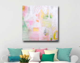 Large Canvas Art, Wall Art, Abstract Canvas Print, Giclee Print, Pink Green Yellow Art, Abstract Print from Painting, Modern Abstract Art