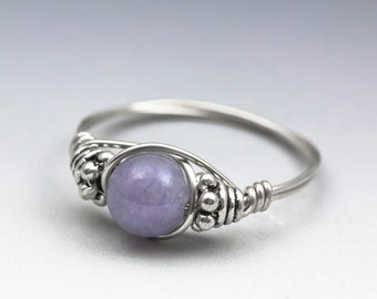 """Lavender Chalcedony """"Angel Stone"""" Bali Gemstone Sterling Silver Wire Wrapped Bead Ring - Made to Order, Ships Fast!"""