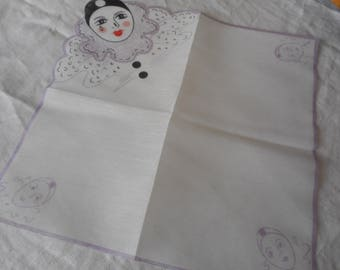 French Face Scllop Edge Printed Hankie Handkerchief