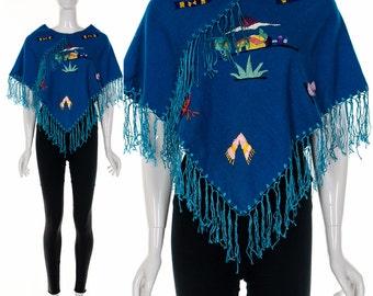 Vintage Blue Wool Cape Poncho Ethnic Poncho Hand Embroidered Fringe Jacket