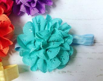 Teal Blue Eyelet Ruffle Flower Headband
