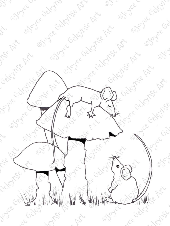 Schlafen Maus Färbung für Erwachsene Mäuse auf Giftpilze