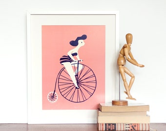 Art Print of a girl riding a vintage bicycle - Cute giclee retro style illustration of a woman riding bike. Colours are blue, cream and pink
