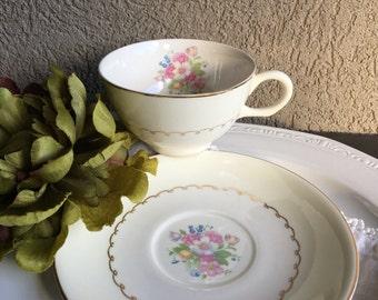Paden City PCP 11 Tea Cup & Saucer Pottery Set Pink Floral Vintage Teacup - #5940