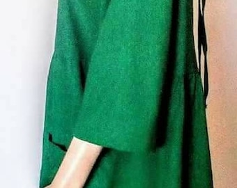 Linen loose dress with 2 front pockets , 3/4 sleeves , pregnat
