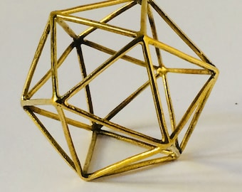 Icosahedron  platonic solids   brass  sacred geometry  water element