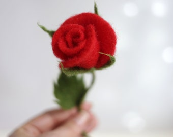 Needle Felted Rose - Needle Felt Flower - Artificial Flower - Red Rose - Ornament - Home Decor - Wool - Summer Decoration - Gift Idea