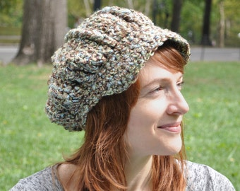 Brown, Tan, Green and Blue Crocheted Newsboy Hat - With Brim - Winter Accessories, Women's Hat Fall Fashion