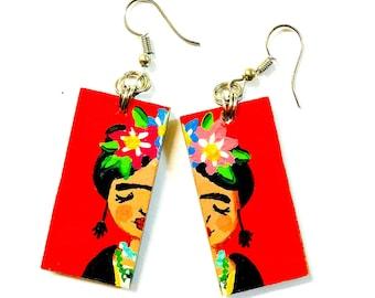 Little Frida Hand Painted Wooden Earrings
