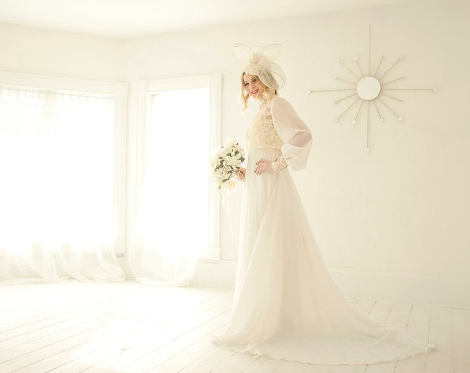 Vintage two-piece wedding dress set, ivory long sheer sleeves lace bolero, white chiffon Victorian floral empire waist, train S 1970s boho