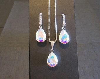NEW Crystal AB Bridesmaid Jewelry Set/Swarovski Crystal/Bridesmaid Set/Swarovski Crystal AB Necklace/Swarovski  Earrings/Bridal Party