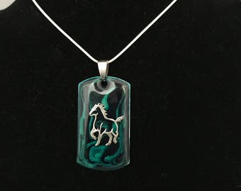 Silver, Horse Necklace - Hand Painted, Handmade - Perfect For the Equestrian!