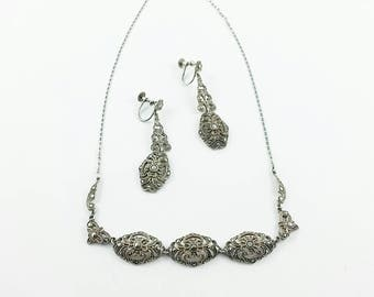 1940's Vintage Sterling Silver Marcasite Choker Drop Earrings Marcasite Jewlry Marcasite Necklace and Earrings Gift For HerGift for Mom