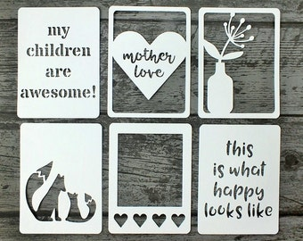 "Mother Love 3x4"" Die Cut Cards, Pocket Scrapbooking, Mother's Day Scrapbooking, Filler Cards, Journaling Cards, Mother Embellishments"
