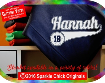 Volleyball Blanket w/Custom Name & Number, Personalized GLITTER VINYL Volleyball Stadium Blanket w/Custom Name, Volleyball Team Gift