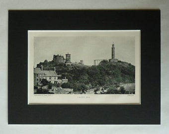 1890s Antique Scottish Print of Calton Hill, Edinburgh Decor, Available Framed Scotland Art, Princes Street, National Monument, Nelson Gift
