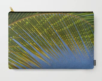 Photo Clutch, Palm Tree Bag, Laptop Bag, Cosmetic Pouch, Make Up Organization, Evening Clutch, Tropical Print, Blue and Green, Ocean Image