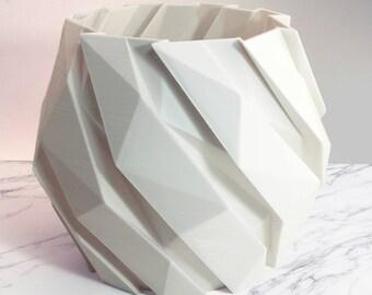 Modernist Art 3d Printed Sculpture Geometric Art Planter White Large Plant Pot Modern Vessel Ribbed Planter