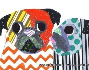 Pug Collage Print - Pug Kiss - A69