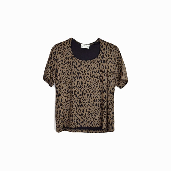 Vintage 90s Black Leopard Print Spandex Tee  / Animal Print Stretchy Tee - women's small/medium