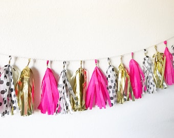 Pink, Gold, and White Polka Dot Tassel Garland |  Tassel Banner | Bridal Shower Decor | Birthday Party Decor | Party Supplies | Spade | Bach