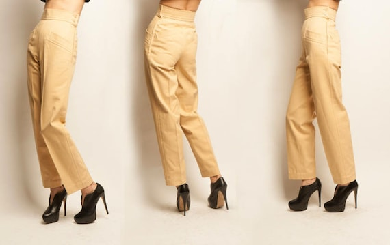 Yves Saint Laurent 1970's cotton beige straight chino pants