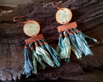 Silk sari earrings, bohemian copper earrings, green patina earrings, copper dangle hook earrings, festival earrings, hippy earrings