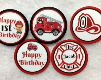 Set of 50/100/150/200  Fireman 1st Birthday Party   1 Inch Confetti Circles