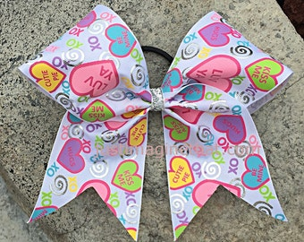 "3""x7""x7"" Texas-sized Conversation Hearts Valentines Bow  Cheer Bow"