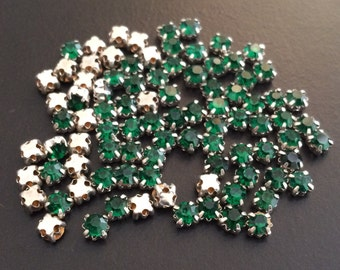 50 pieces 4mm Swarovski round crystal sew on Green stones beads