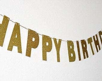 Gold Happy Birthday Banner. Glitter Banner. Glitter Happy Birthday Banner. Birthday Decoration.