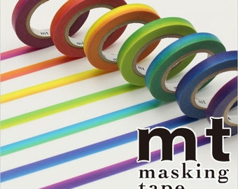 Rainbow Washi Tape - 7 Colors Paper Masking Tape 6mm×10m