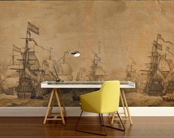 self adhesive peel and stick wall mural,  wall sticker, vintage map wall mural, pirate ship wallpaper, pirate ship wall decal, pirate ship