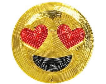 Emoji coeur yeux - Collection paillettes - autocollant et fer sur patch (P185)
