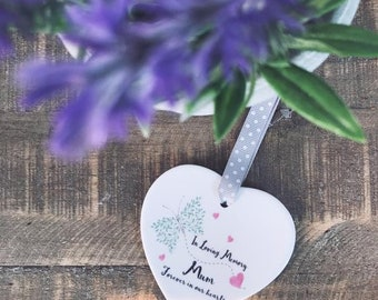Personalised In Loving Memory Memorial Ceramic Heart with Heart and Butterfly Detail - Christmas Gift - Tree Decoration - Keepsake