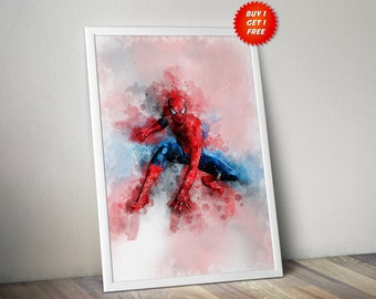 Spiderman,Poster, Print, Art, Avenger, Infinity War,Watercolour, Homecoming,Iron Man,Marvel,Gift, Gift For Him, Gift For her, Webslinger, Su